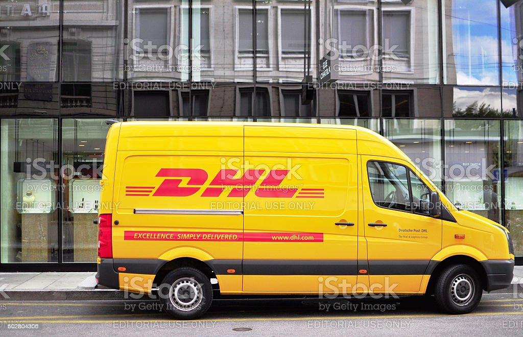 DHL van in the street stock photo