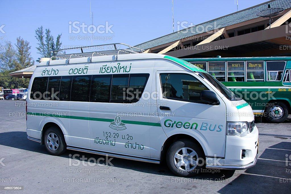Van of Greenbus company, stock photo