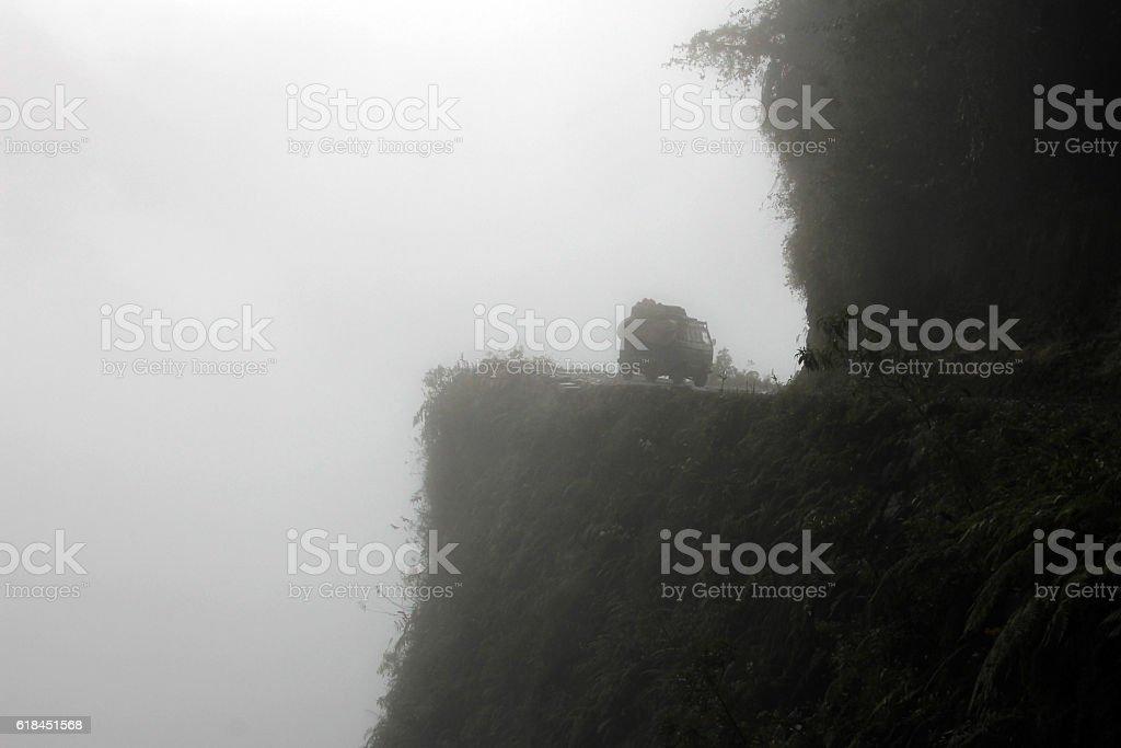 Van on death road, Bolivia stock photo