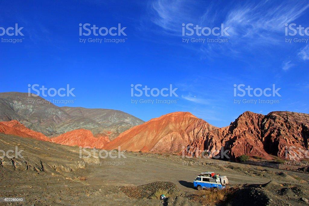 Van on the hill of seven colors, cerro de los stock photo
