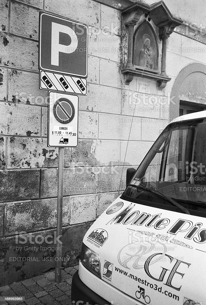 Van parked in Tuscan street stock photo