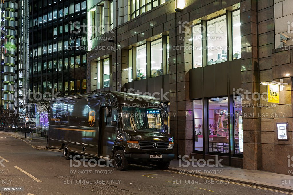 UPS van parked not far from Lloyd's of London stock photo