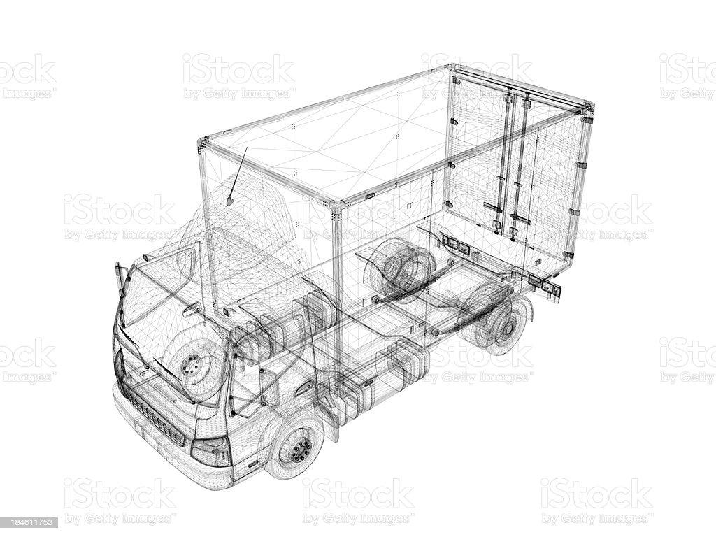 Van Wire Frame Blueprint royalty-free stock photo