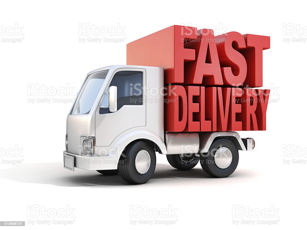 van with fast delivery letters on back stock photo