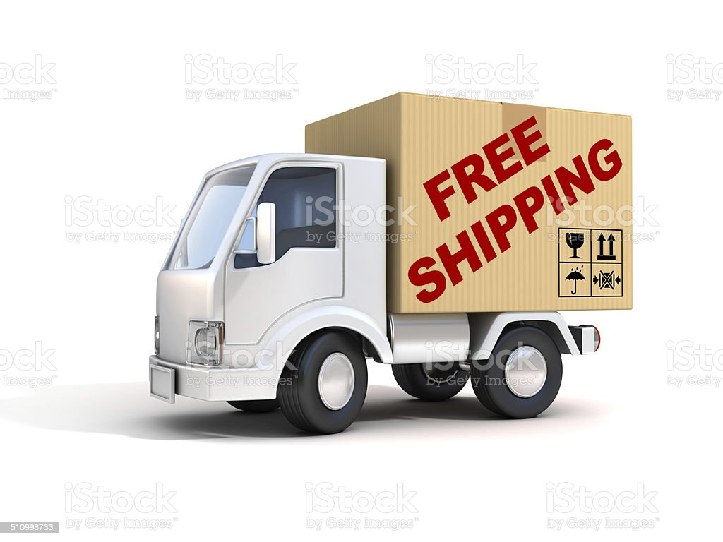 van with free shipping letters on back stock photo
