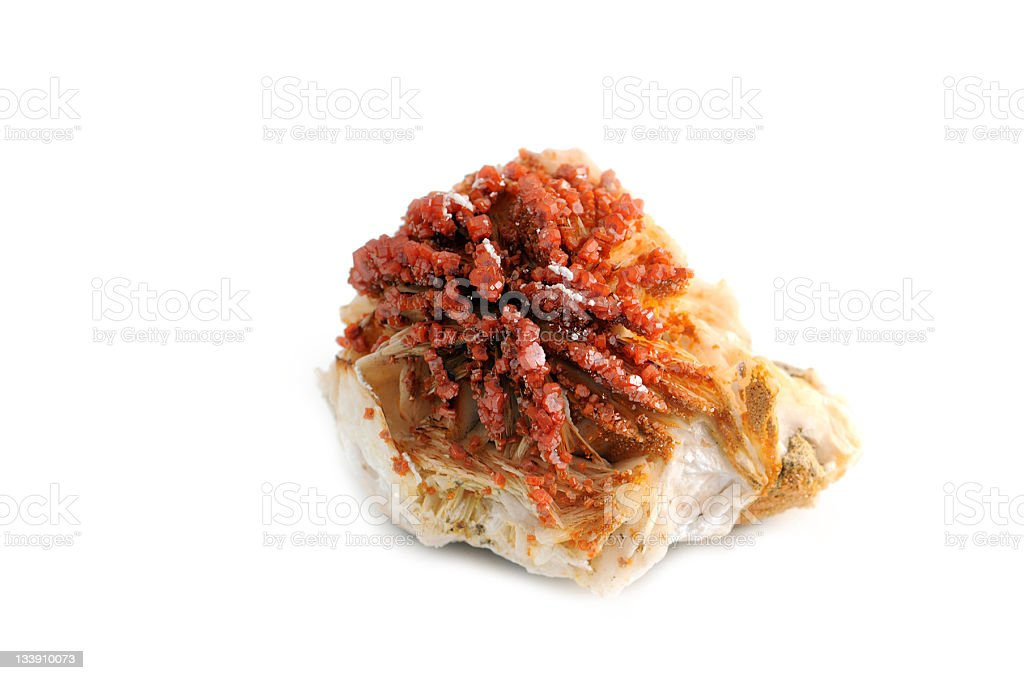 Vanadinite from morocco on white background stock photo