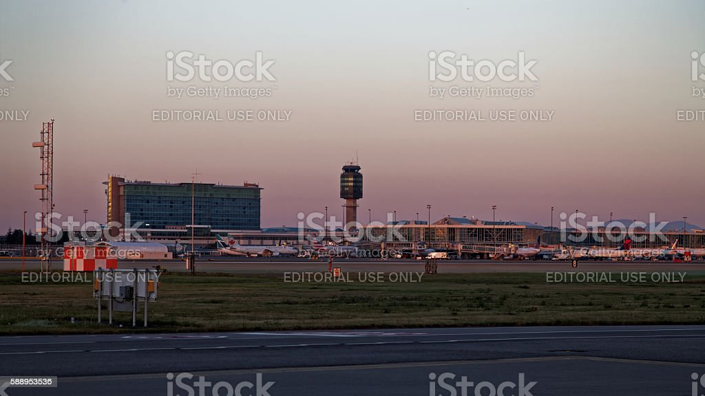 Vancouver Air Traffic Control Tower and Tarmac stock photo