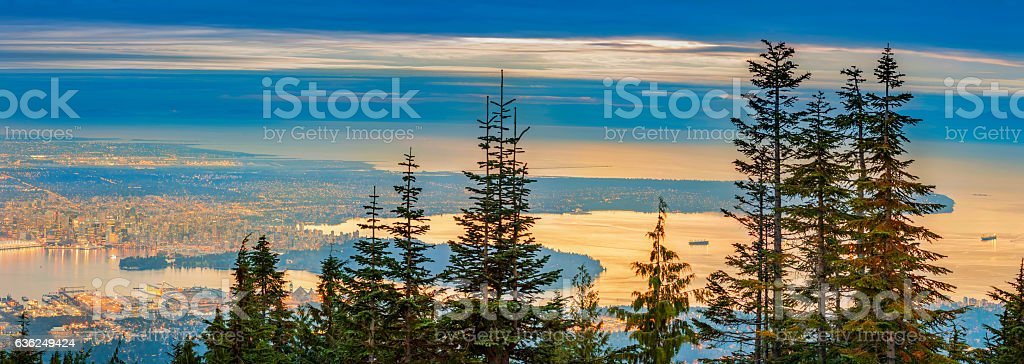 Vancouver and Surroundings from Grouse Mountain in British Columbia Canada stock photo