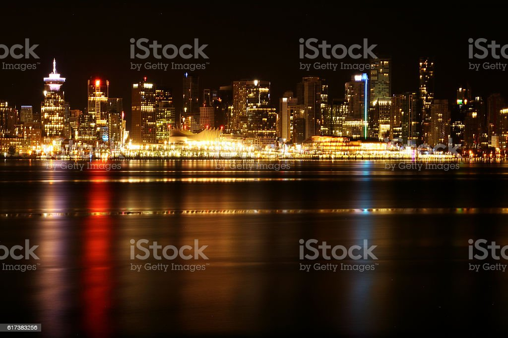 Vancouver at night stock photo