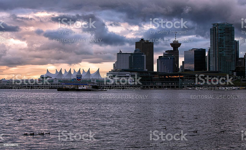 Vancouver at sunset stock photo