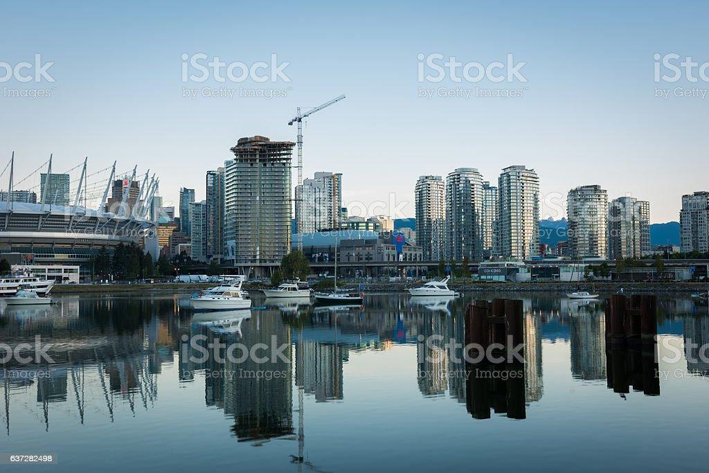 Vancouver, BC at dusk stock photo