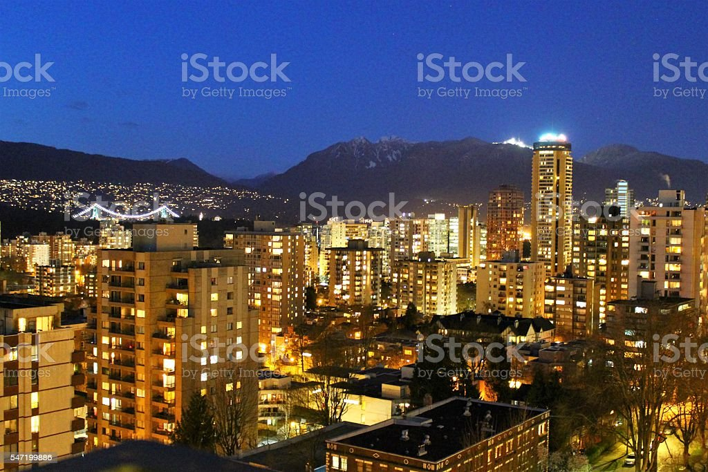Vancouver B.C at Night stock photo