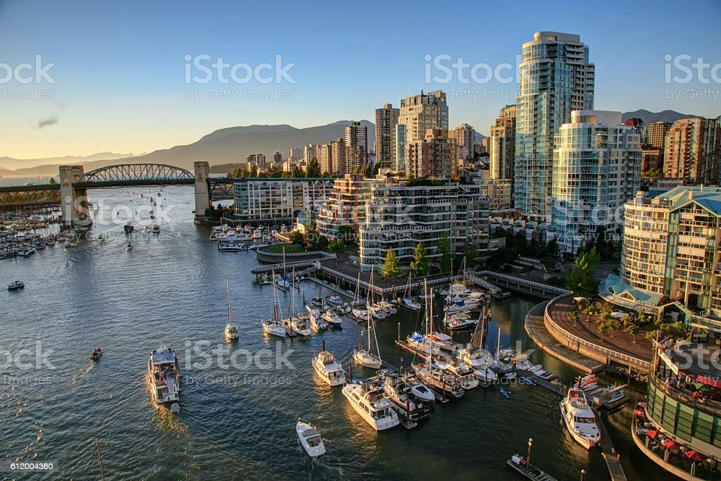 Vancouver BC Canada Cityscape at sunset stock photo