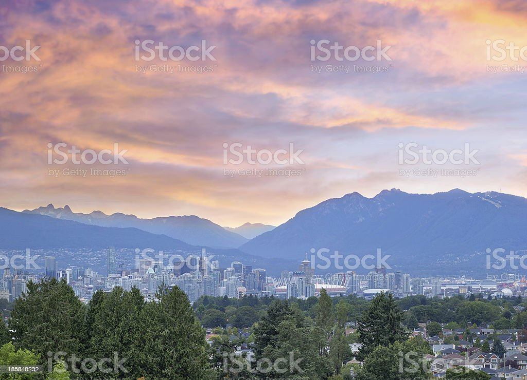 Vancouver BC City at Sunset stock photo