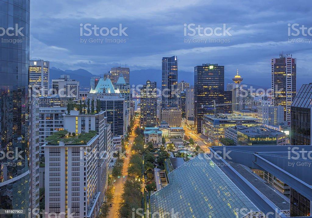 Vancouver BC Downtown at Dawn stock photo