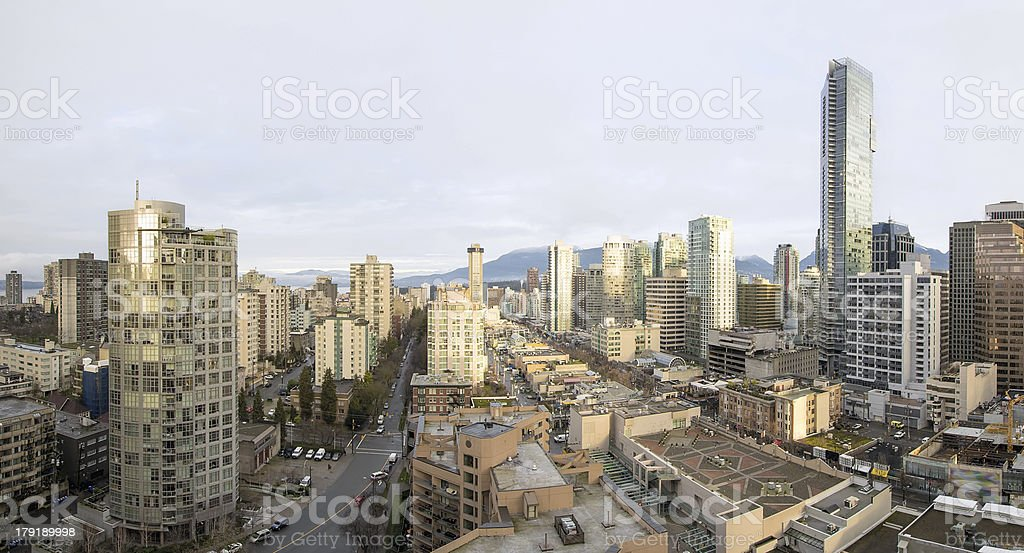 Vancouver BC Downtown Early Morning Panorama stock photo