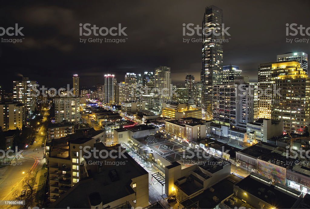 Vancouver BC Robson Street Cityscape stock photo