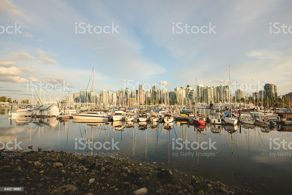 Vancouver boat harbour stock photo