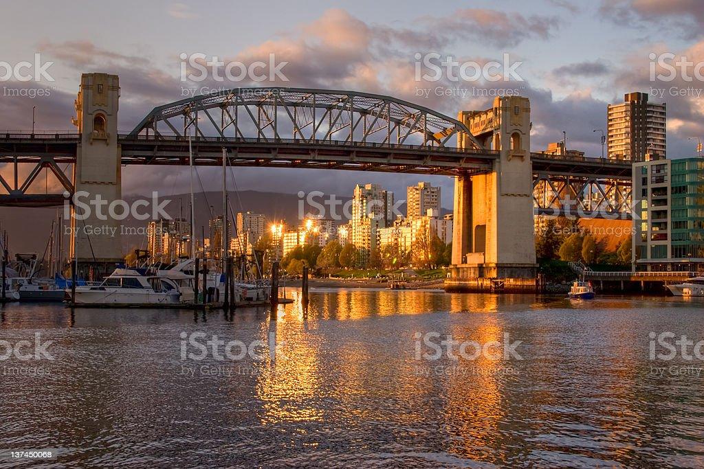Vancouver - Burrard Bridge at sunset stock photo