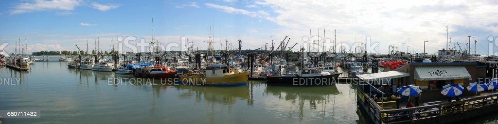 Vancouver Canada - August 16 2003. Steveston Fishermen's Wharf panoramic view stock photo
