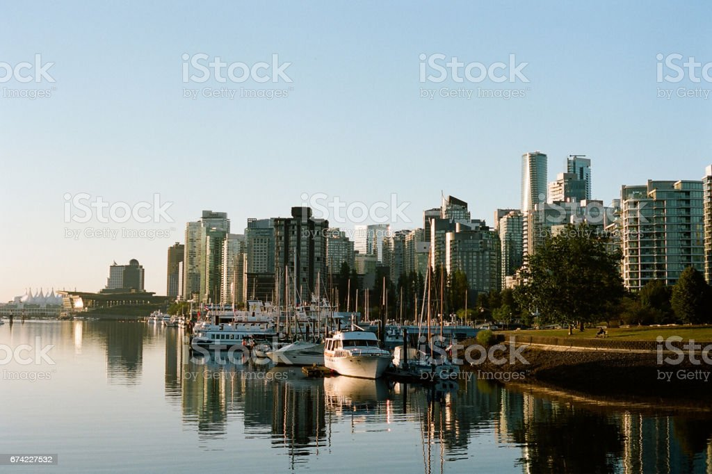 Vancouver, Canada Skyline at Golden Hour stock photo