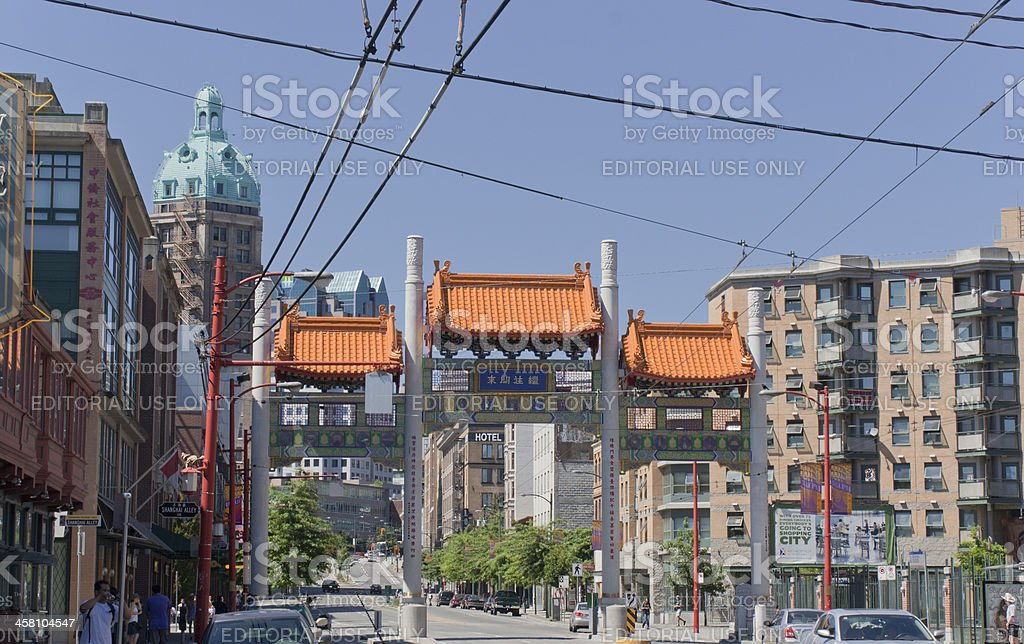 Vancouver Chinatown Millenium Gate on East Pender Street stock photo