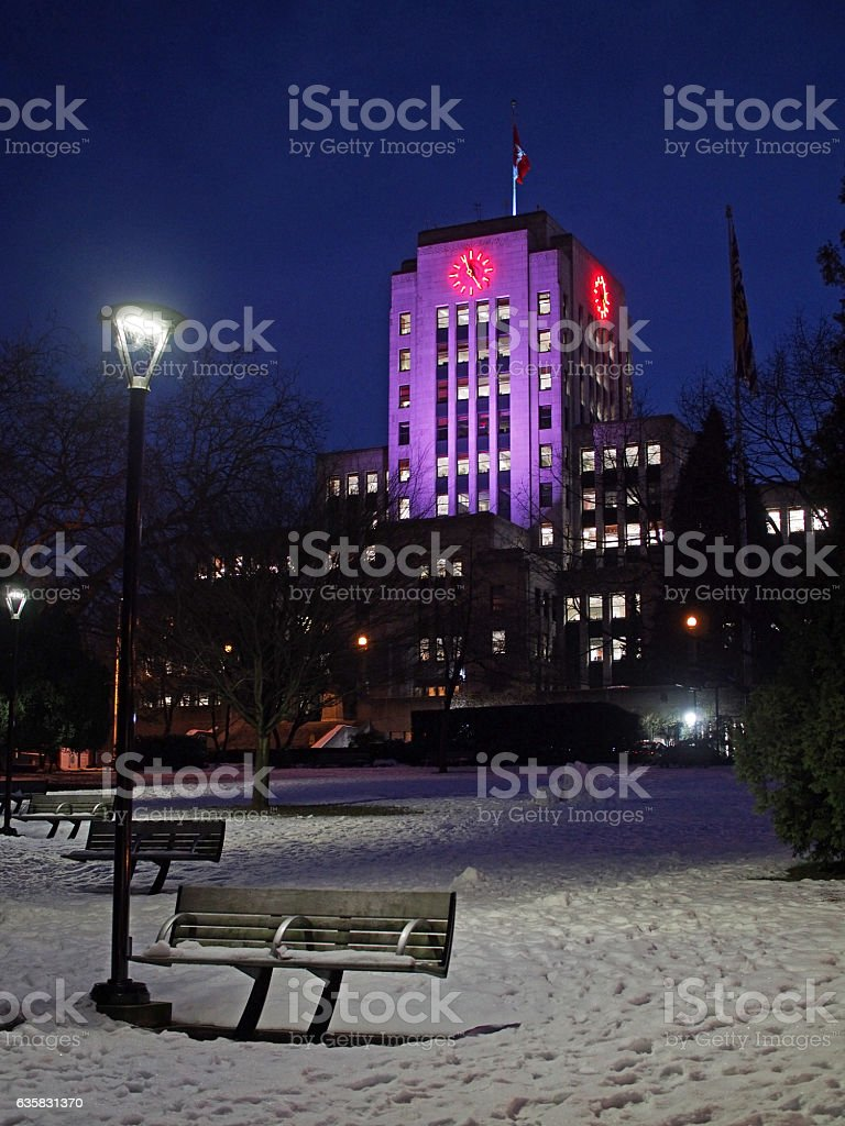 Vancouver City Hall at Night stock photo
