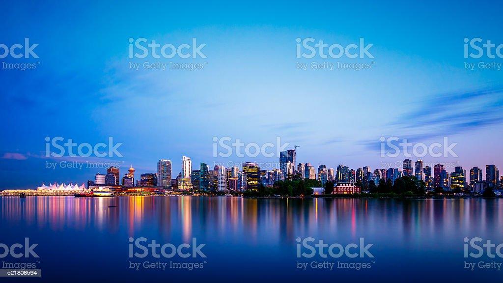Vancouver City Skyline after Sunset stock photo