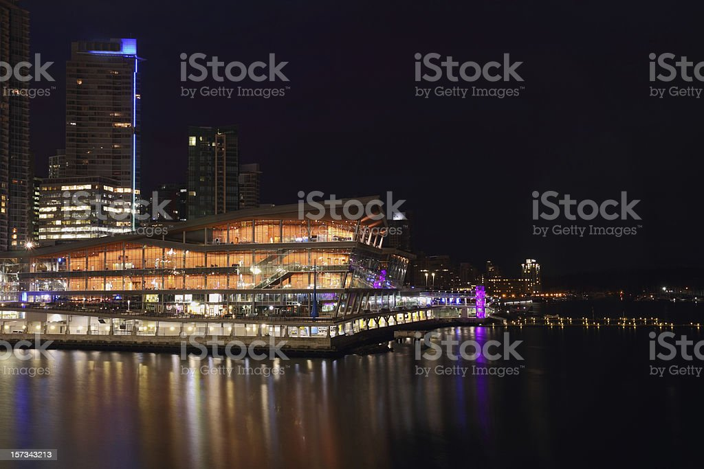 Vancouver Convention Center Night stock photo
