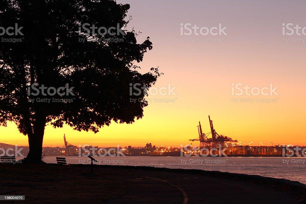 Vancouver Dawn, Stanley Park stock photo