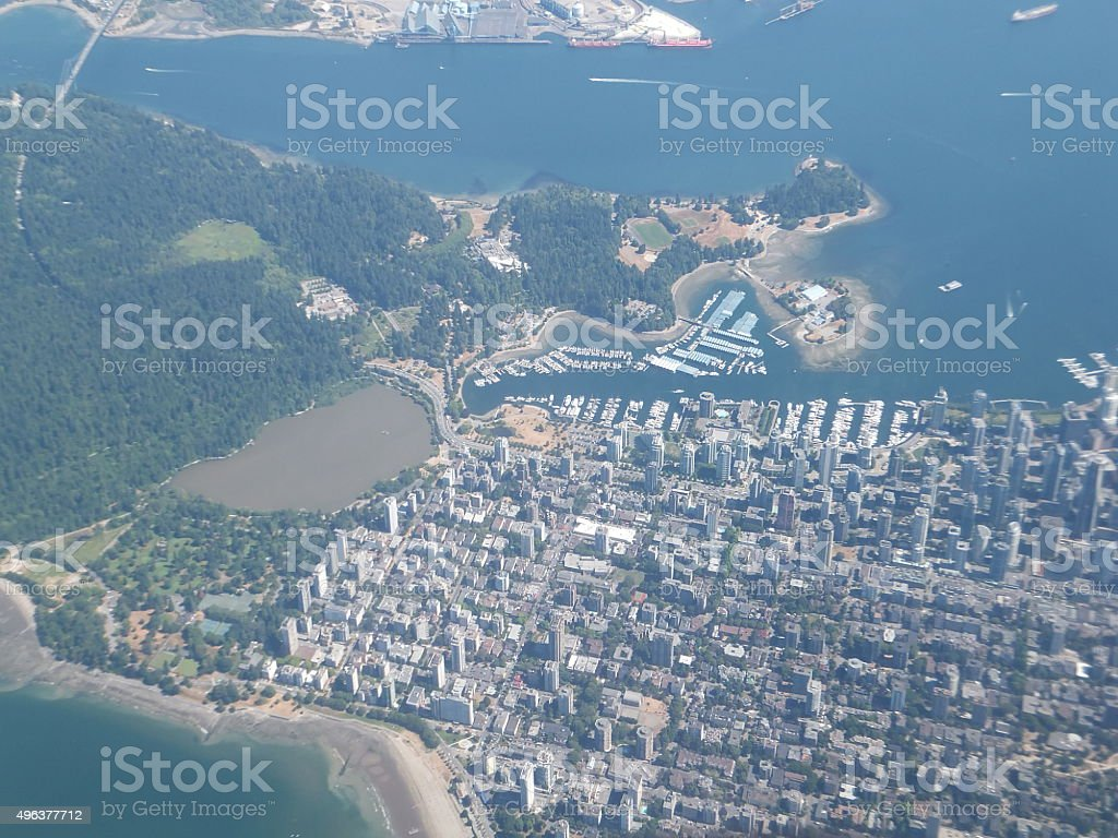 Vancouver Downtown and Stanley Park Aerial view stock photo