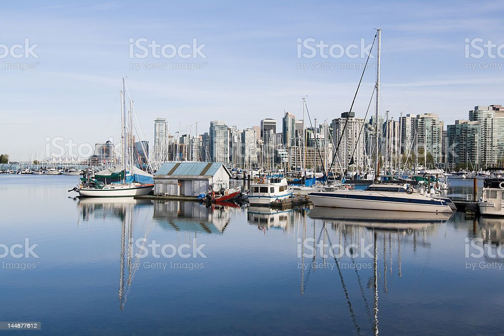 Vancouver Downtown Marina shot from Stanley park royalty-free stock photo