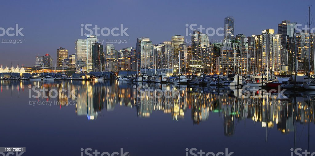 Vancouver downtown night. stock photo