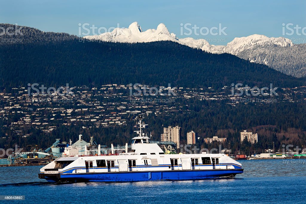 Vancouver Ferry Snowy Two Lions British Columbia stock photo