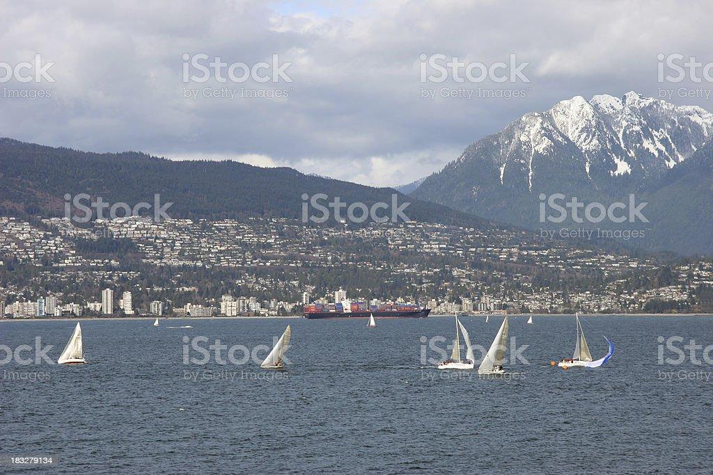 Vancouver From Kitsilano Looking toward Mountains. royalty-free stock photo