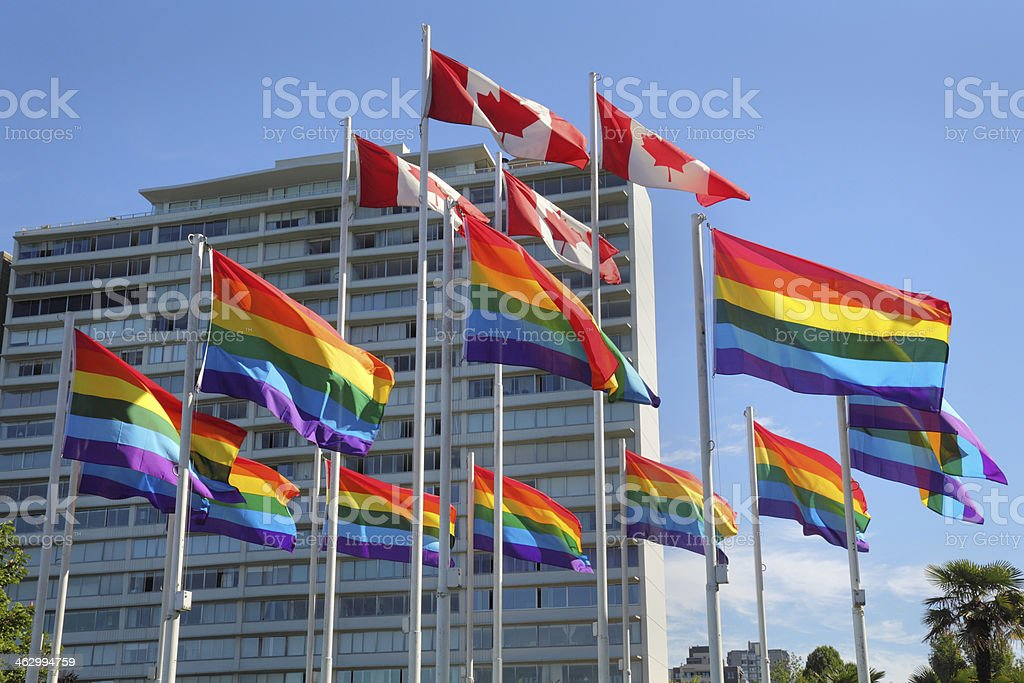 Vancouver Gay Pride Flags stock photo