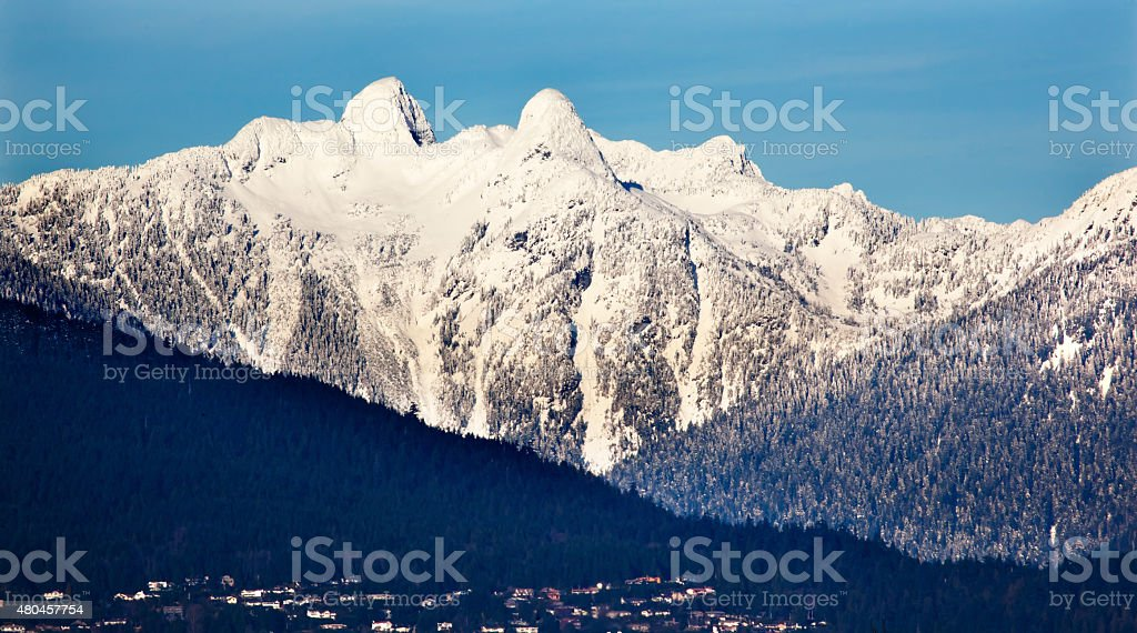 Vancouver Houses Snowy Two Lions Mountains British Columbia stock photo
