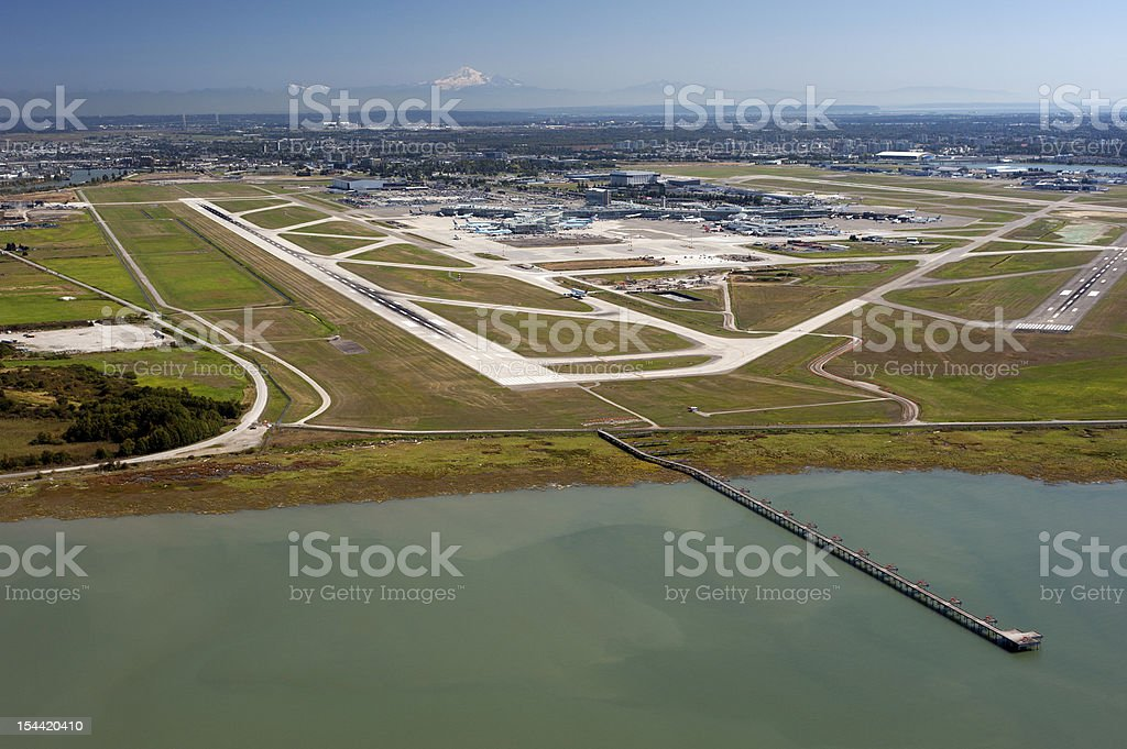 Vancouver International Airport and Fraser River stock photo
