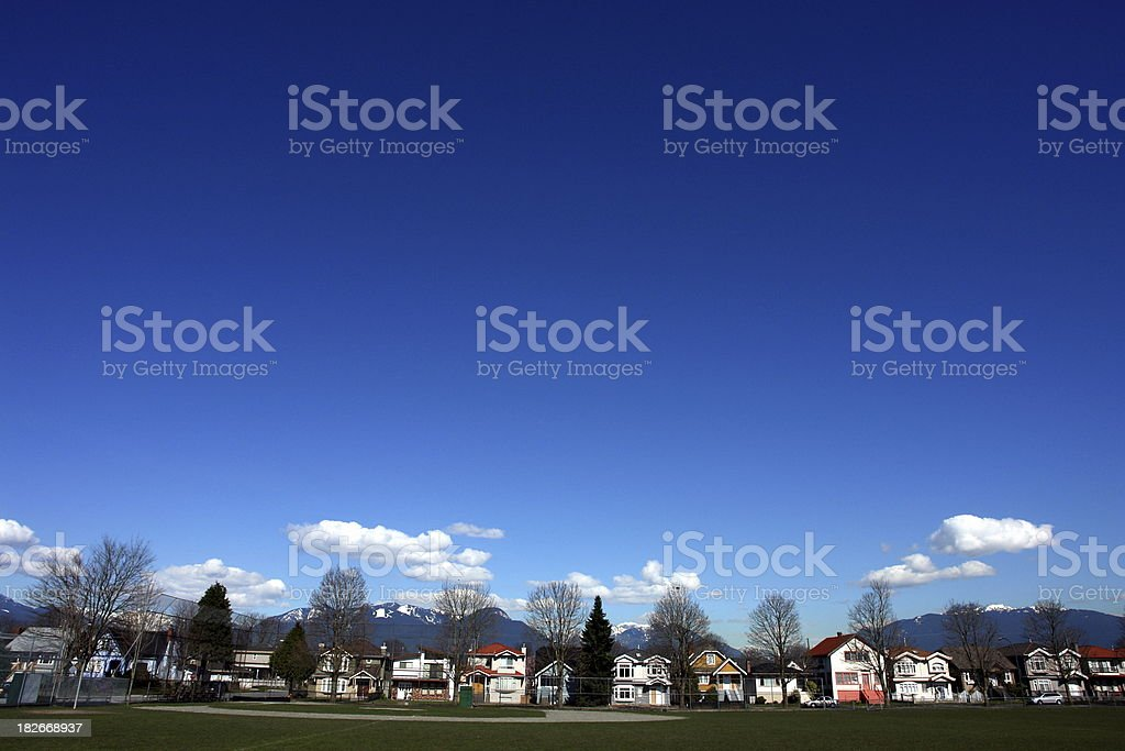 Vancouver Neighborhood Under A Big Blue Sky royalty-free stock photo
