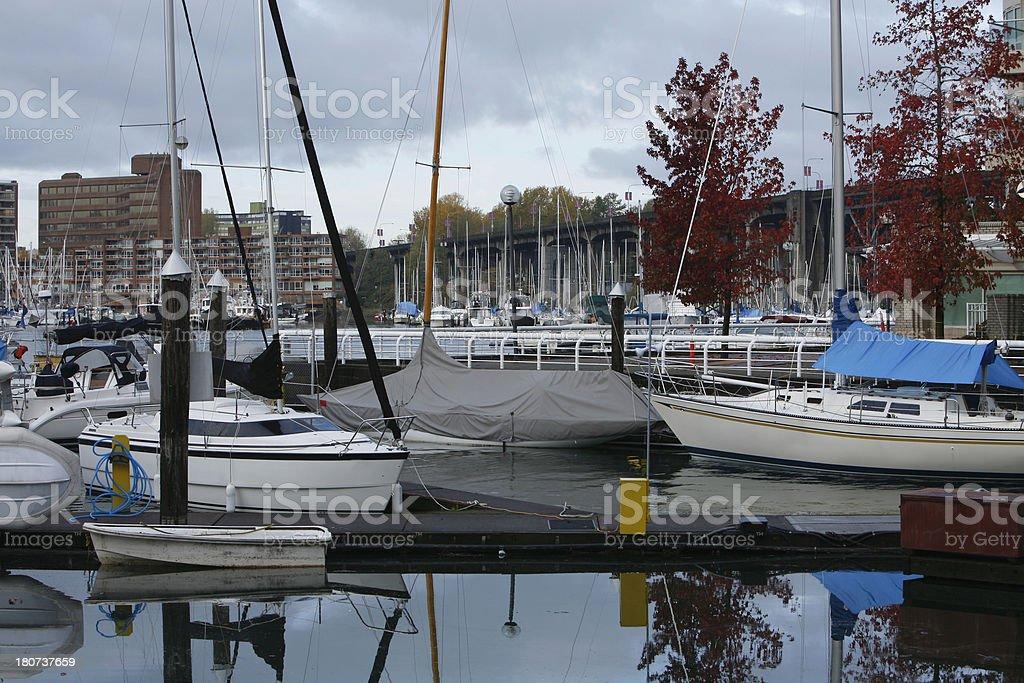 Vancouver. Sail Boats, Yachts,Moored At False Creek Burrard Bridge. royalty-free stock photo