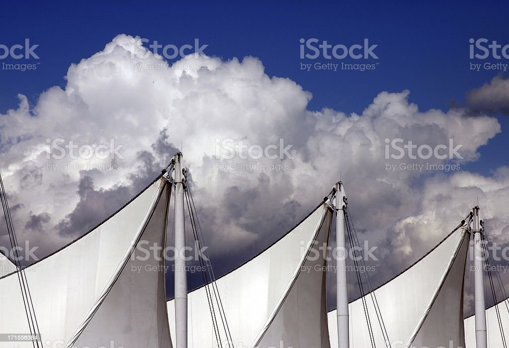 Vancouver: Sails At Canada Place royalty-free stock photo