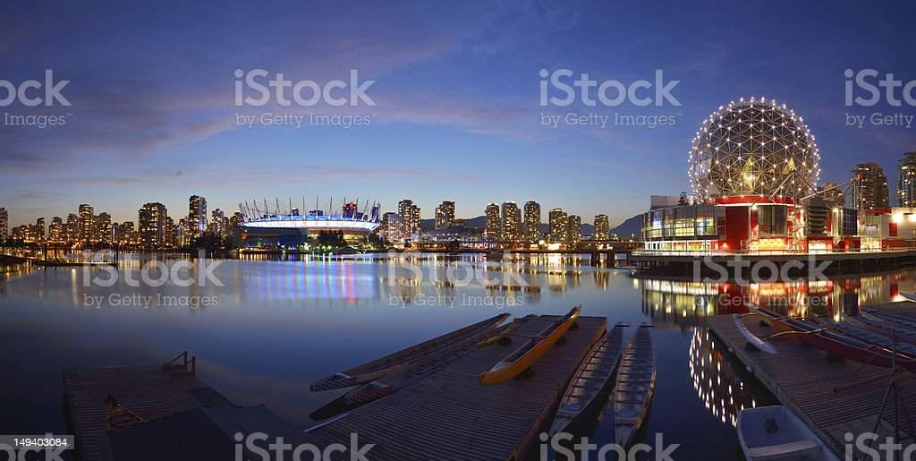 Vancouver Science World and BC Stadium at night stock photo