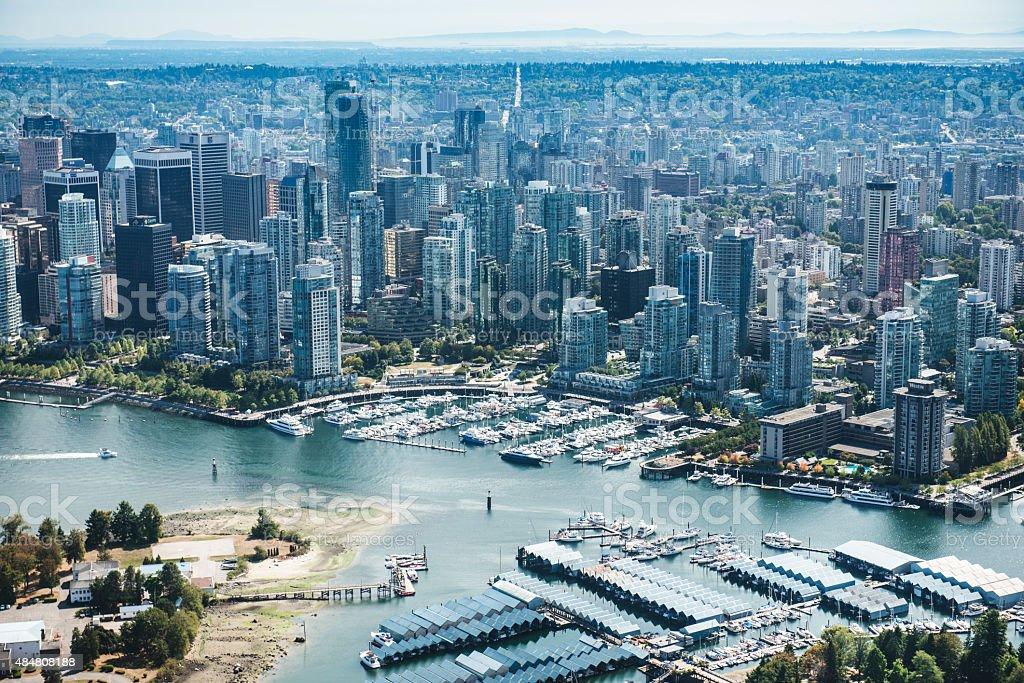 Vancouver skyline aerial view stock photo