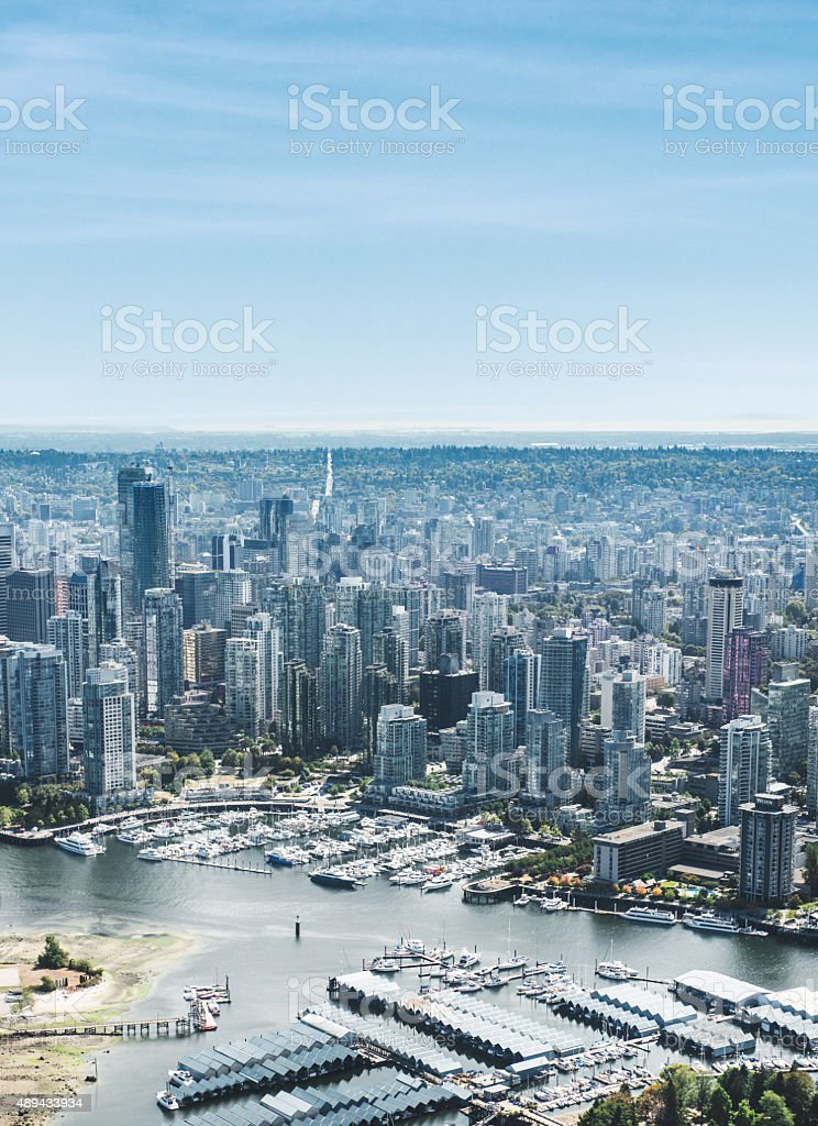 Vancouver skyline aerial view stock photo
