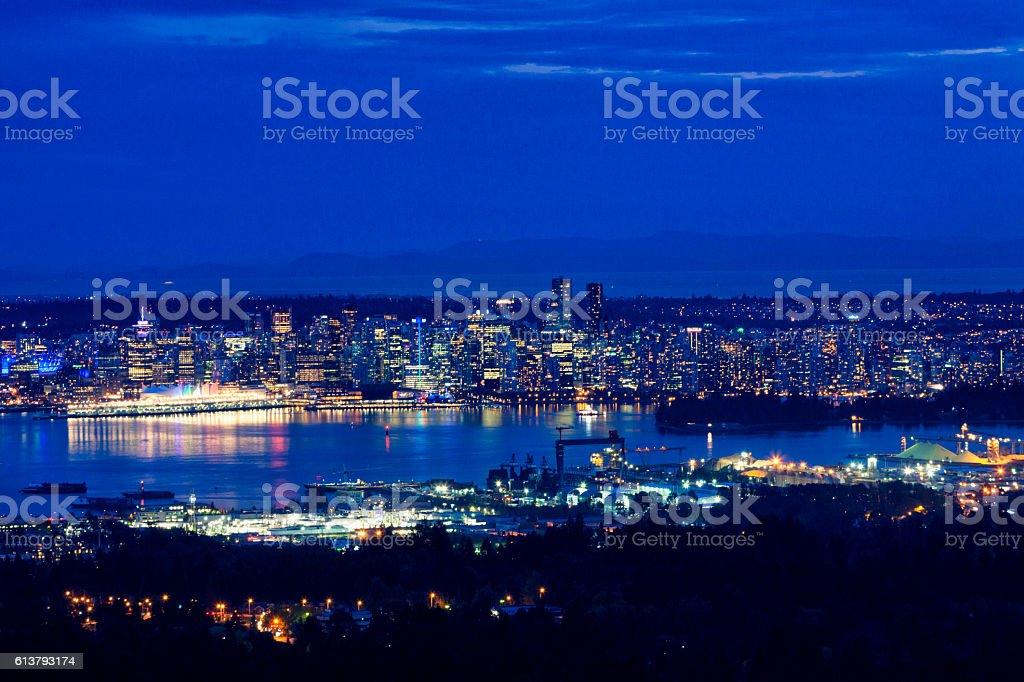 Vancouver Skyline at Night stock photo