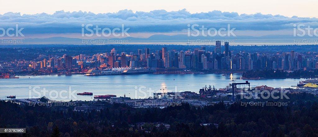 Vancouver Skyline at Sunrise stock photo
