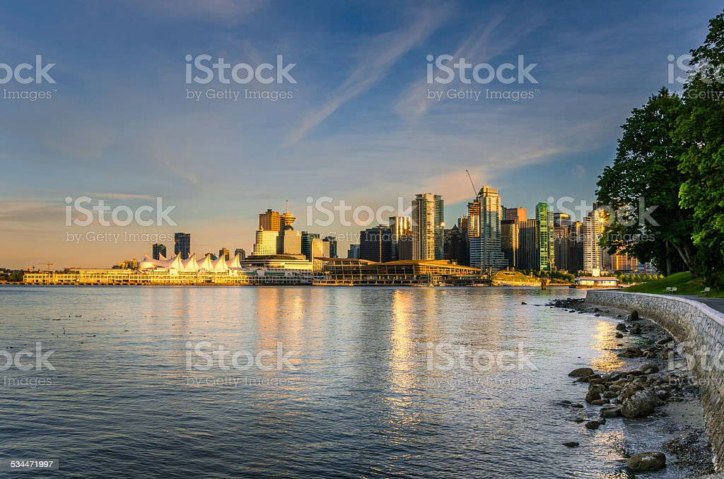 Vancouver Skyline at Sunset stock photo