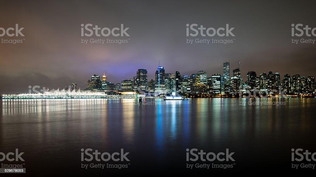 Vancouver skyline by night stock photo