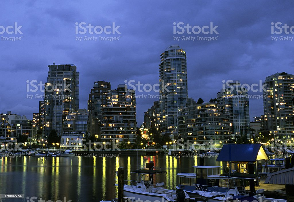 Vancouver skyline from Granville Island at dusk. royalty-free stock photo