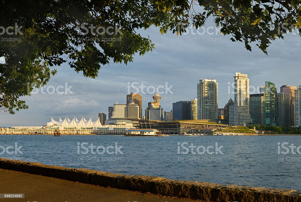 Vancouver Skyline from Stanley Park stock photo